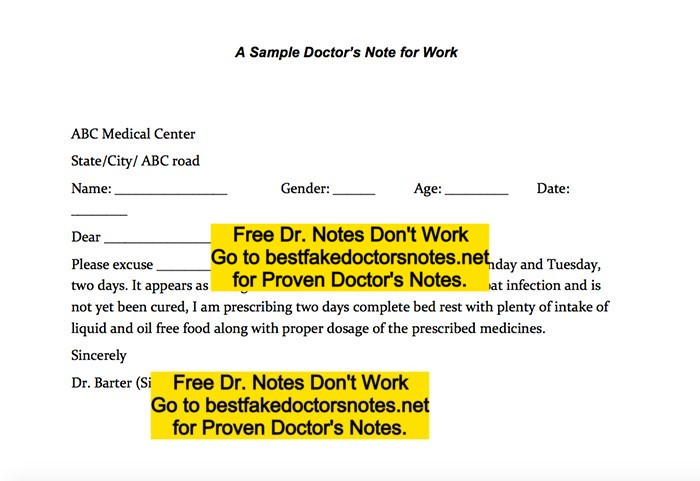 fake doctors note templates for work or school pdf